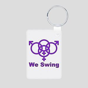 """Swinger Symbol-""""We Swing"""" Aluminum Photo Keychain"""