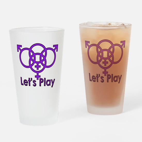 "Swinger Symbol ""Let's Play"" Drinking Glass"