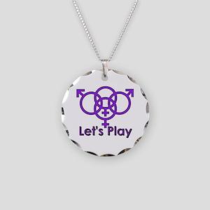 "Swinger Symbol ""Let's Play"" Necklace Cir"