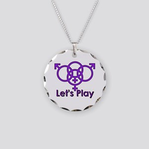 "Swinger Symbol ""Let's Play"" Necklace Cir"