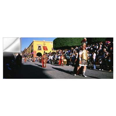Group of people marching in a Good Friday processi Wall Decal