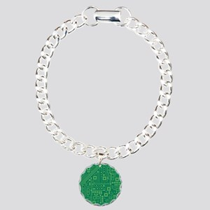 Green Circuit Board Charm Bracelet, One Charm