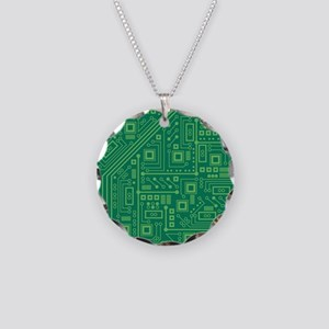 Green Circuit Board Necklace Circle Charm