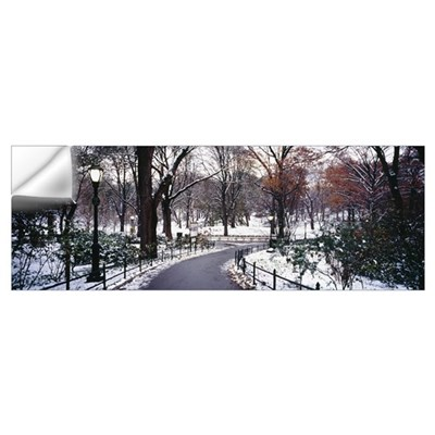 Walkway in a park, Central Park, Manhattan, New Yo Wall Decal