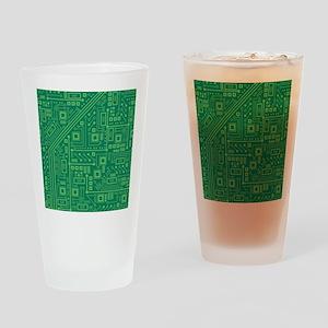 Green Circuit Board Drinking Glass
