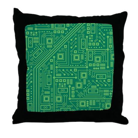 Green Circuit Board Throw Pillow