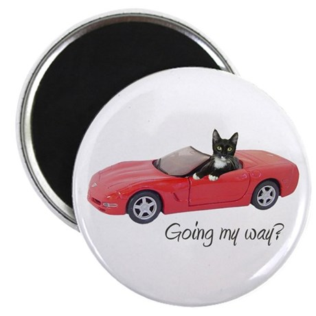 "Cat in Red Car 2.25"" Magnet (10 pack)"