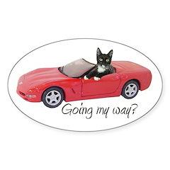 Cat in Red Car Sticker (Oval)