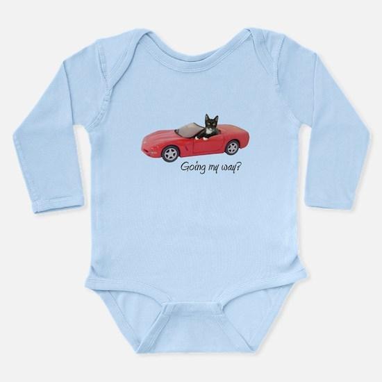 Cat in Red Car Long Sleeve Infant Bodysuit