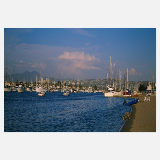 Boats at a harbor, Newport Beach Harbor, Newport B