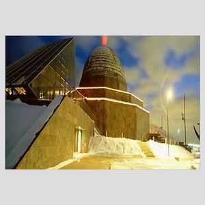 Museum lit up at dusk, Adler Planetarium, Chicago,