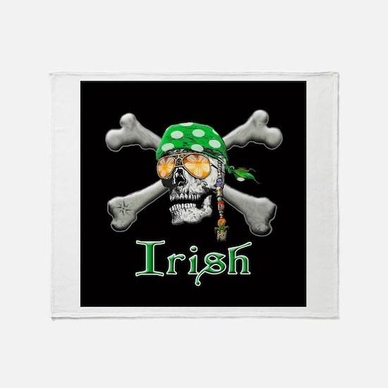 Irish Pirate Scull and Bones Throw Blanket
