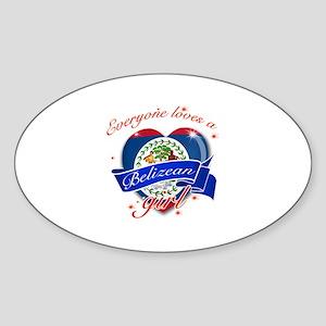 I heart Belizean Designs Sticker (Oval)