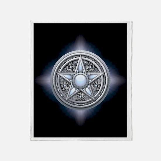 Silver Moonstone Pentacle Throw Blanket