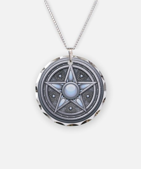 Silver Moonstone Pentacle Necklace