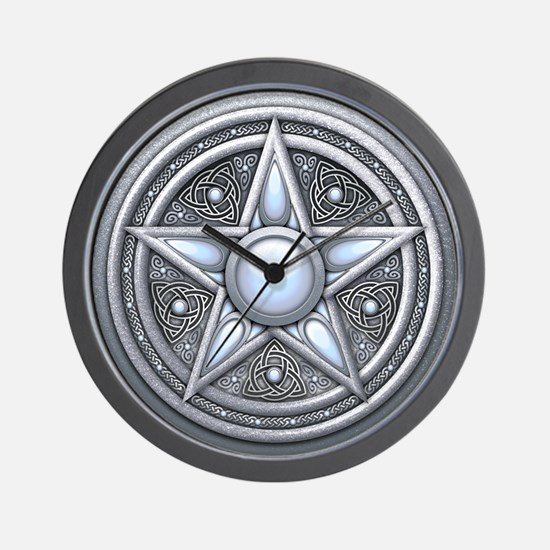 Silver Moonstone Pentacle Wall Clock