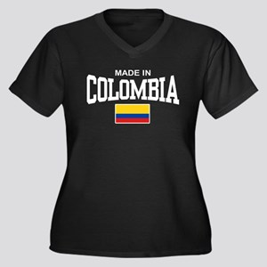 Made In Colombia Women's Plus Size V-Neck Dark T-S