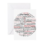 Bon appetit in different lang Greeting Cards (Pk o