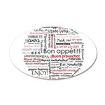 Bon appetit in different lang 22x14 Oval Wall Peel