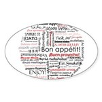 Bon appetit in different lang Sticker (Oval 10 pk)