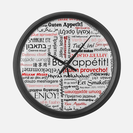Bon appetit in different lang Large Wall Clock