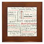 Bon appetit in different lang Framed Tile