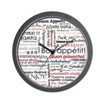 Bon appetit in different lang Wall Clock