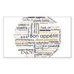 Bon Appetit in many languages Sticker (Rectangle 1