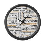 Bon Appetit in many languages Large Wall Clock