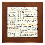 Bon Appetit in many languages Framed Tile