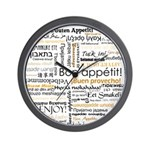 Bon Appetit in many languages Wall Clock