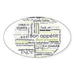 Bon appetit in other language Sticker (Oval 50 pk)