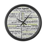 Bon appetit in other language Large Wall Clock