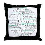 Bon appetit around the world Throw Pillow