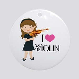 I Heart Violin Girls Ornament (Round)