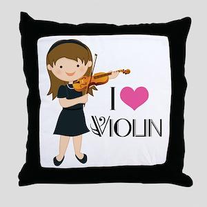 I Heart Violin Girls Throw Pillow