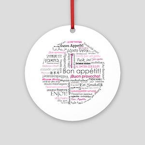 Bon appetit typography - Pink Ornament (Round)