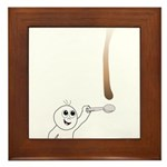 Cute drip guy catching drop w Framed Tile