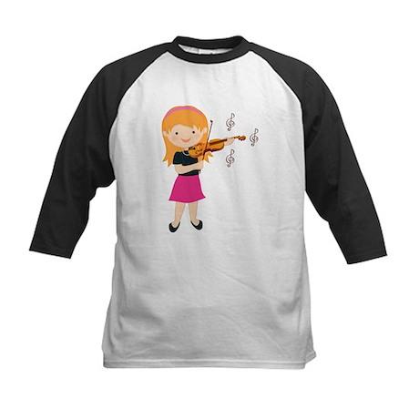Violin Music Girl Kids Baseball Jersey