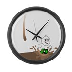 Cute Drip Guy Splashing in Pu Large Wall Clock