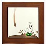 Cute Drip Guy Splashing in Pu Framed Tile