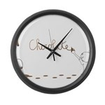 Cute Drip Guy Painting Chocol Large Wall Clock