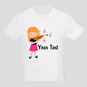 Personalized Violin Girl Kids Light T-Shirt