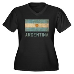Vintage Argentina Women's Plus Size V-Neck Dark T-