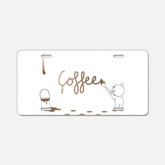 Cute Drip Guy Painting Coffee Aluminum License Pla
