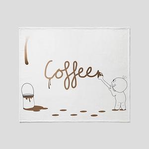 Cute Drip Guy Painting Coffee Throw Blanket