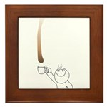 Drip guy catching drop in mug Framed Tile
