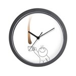 Drip guy catching drop in mug Wall Clock