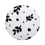 Black and White Leaf Silhouet Ornament (Round)
