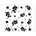 Black and White Leaf Silhouet Small Poster